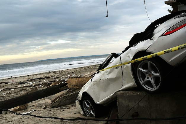 Porsche damaged in Hurricane Sandy