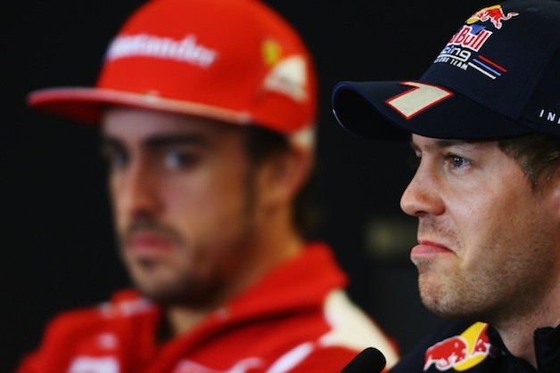 F1 racer Sebastian Vettel at press conference with Fernando Alonso