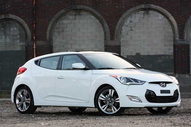 2012 Hyundai Veloster - white - front three-quarter view