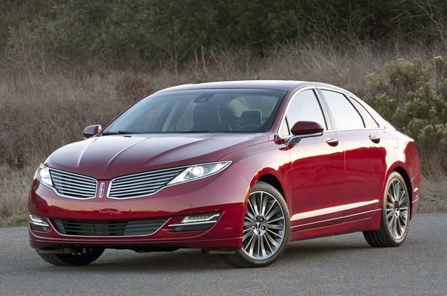 2013 Lincoln MKZ in deep red - front three-quarter view