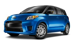 2013 Scion xD - blue - front three-quarter studio view