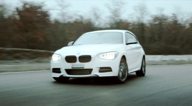 BMW M135i drift - front three-quarter view - video screencap