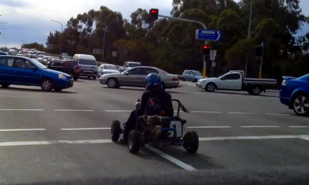 Go-kart recorded in city traffic in Sydney, Australia
