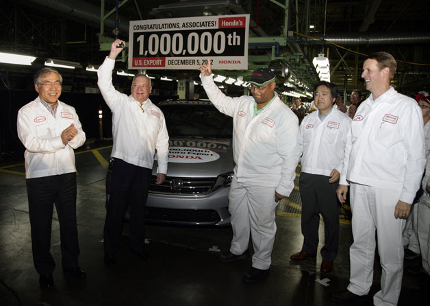 Honda workers celebrate millionth car exported from US
