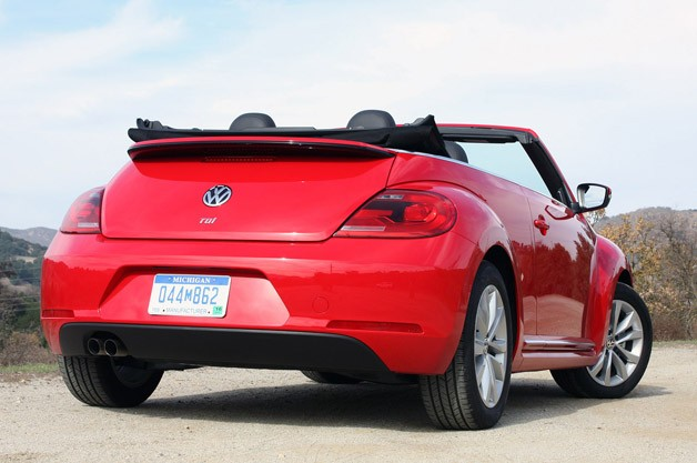 2013 Volkswagen Beetle TDI Convertible rear 3/4 view