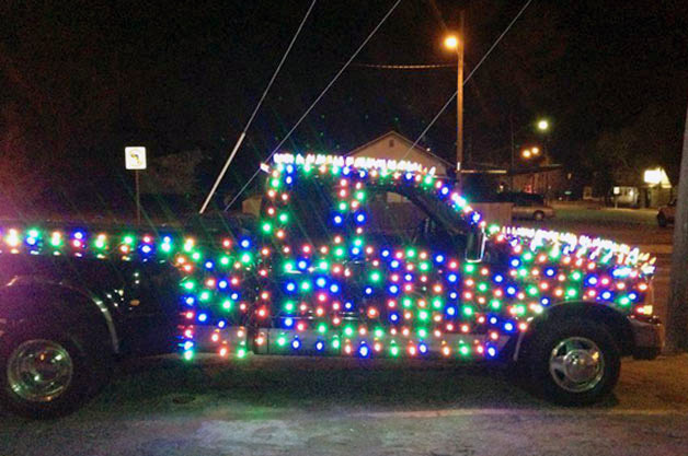 Truck in Christmas lights
