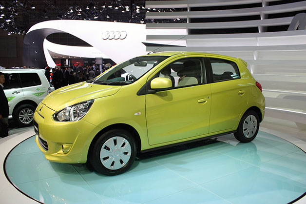 2012 Mitsubishi Mirage on show stand 