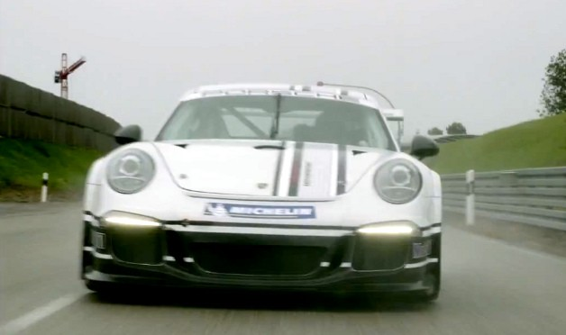 Porsche teases 911 GT3 Cup racecar with new video (screencap of front end)