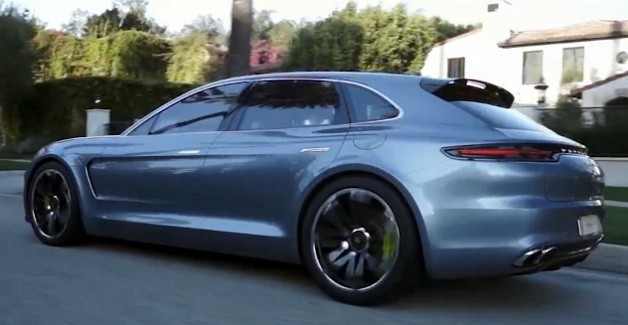 Porsche Panamera Sport Turismo driving shot - rear three-quarter view, video screencap