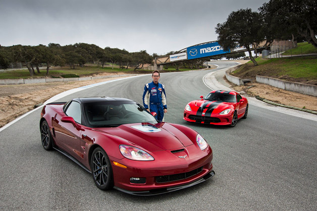 Racer Randy Pobst with 2013 Corvette ZR1, 2013 Viper GTS
