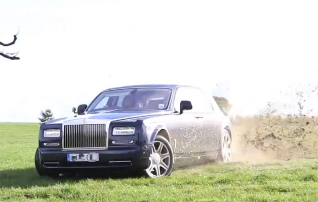 Rolls-Royce Phantom drifting in the grass - video screencap