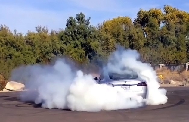 Road & Track Tesla Model S Burnout