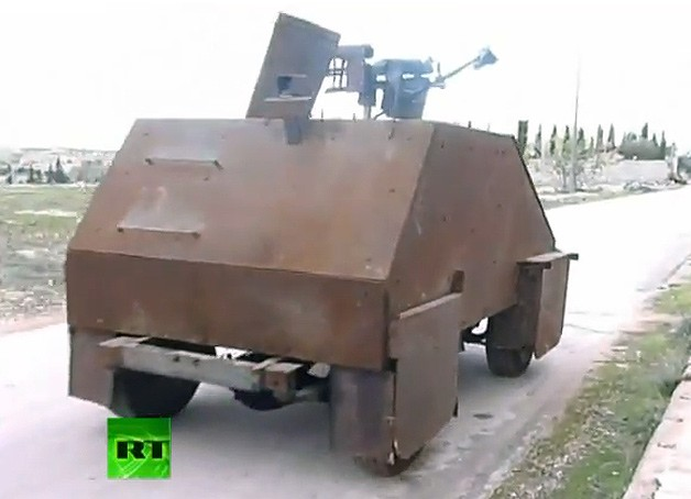 Syrian homemade tank - video screencap