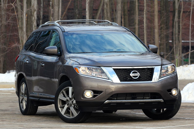 2013 Nissan Pathfinder long-term vehicle - front three-quarter view