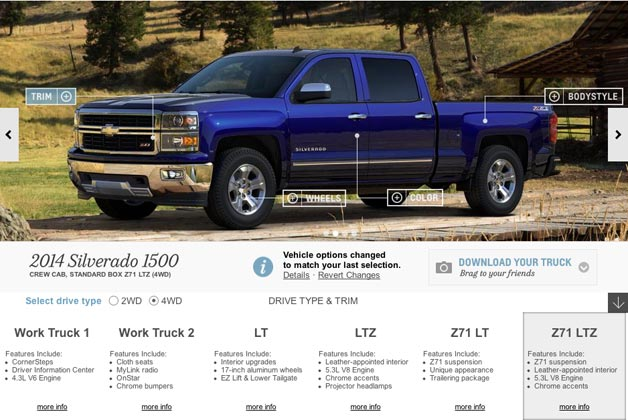2014 Chevrolet Silverado pickup configurator - website screencap