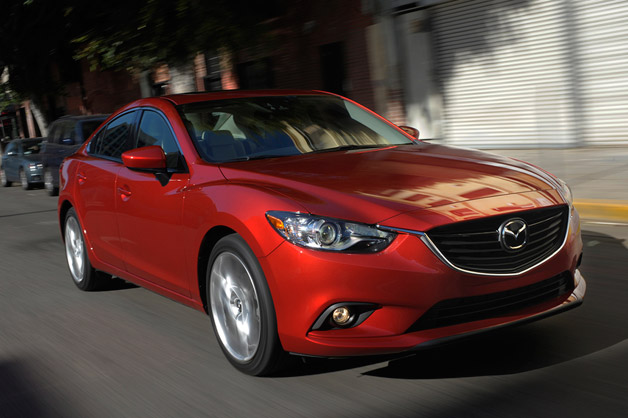 2014 Mazda6 - maroon - front three-quarter dynamic view