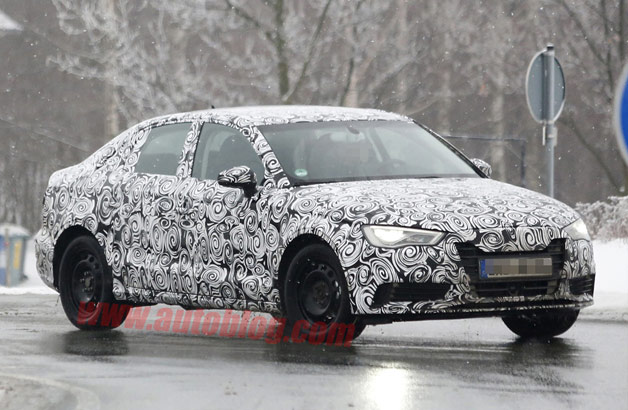2014 Audi A3 camouflaged prototype undergoing cold-weather testing