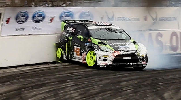Ken Block damages rear wheels while drifting his Ford Fiesta - video screencap
