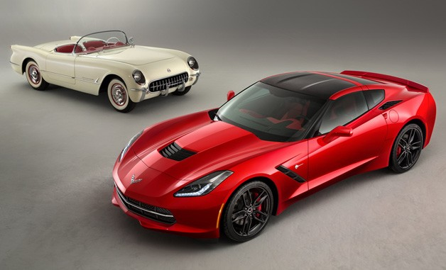 C1 and C7 Corvette models pictured together in a studio