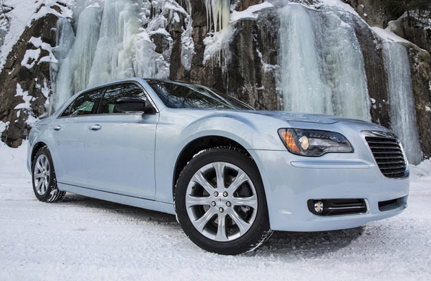 2013 Chrysler 300 Glacier Edition in front of frozen waterfalls