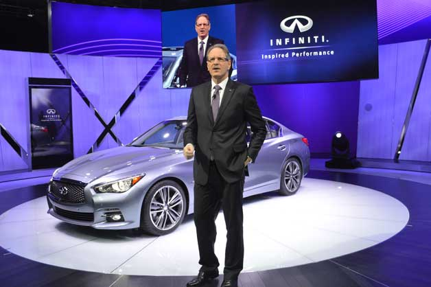 Johann De Nysschen with Infiniti Q50 sedan reveal in Detroit