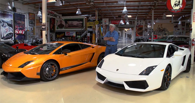 Jay Leno hosts Lamborghini Gallardo models in his garage