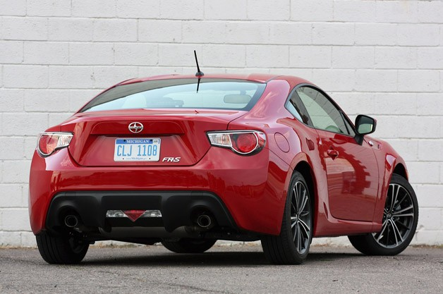 2013 Scion FR-S rear 3/4 view