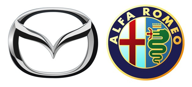 Mazda and Alfa Romeo logos