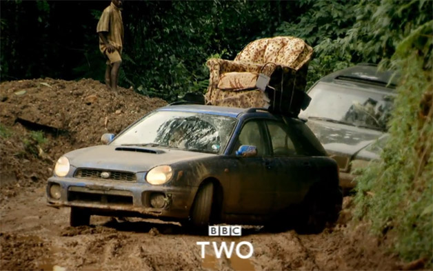 New Top Gear Season teaser video screencap - Subaru and Volvo in the jungle getting muddy