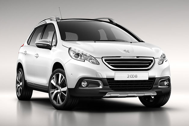 Production Peugeot 2008 crossover - front three-quarter view, white