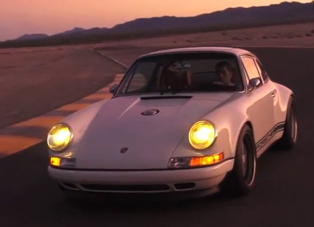 Singer 911 driven on track at sunset by journalist Chris Harris - video screencap