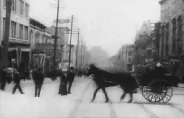 Vancouver street life in 1907 as seen in early streetcar dash cam vid - screencap