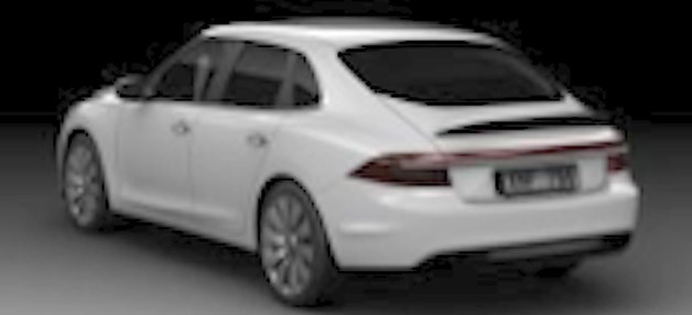 Grainy image of next-gen Saab 9-3 hatchback design attributed to Jason Castriota - rear three-quarter view