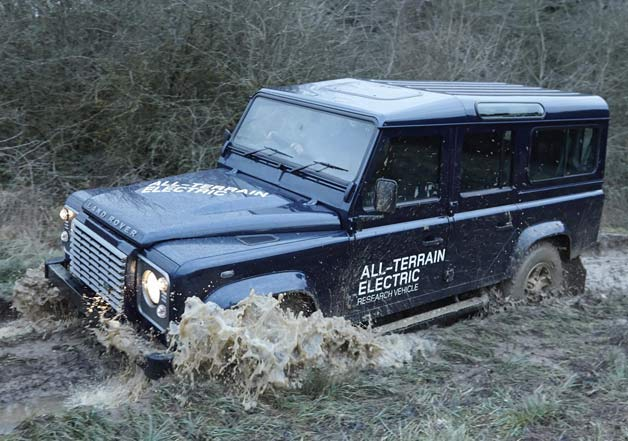 2013 Land Rover Defender Electric Vehicle getting muddy