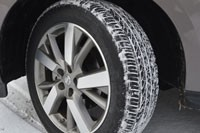 Snow-covered tire on long-term 2013 Pathfinder
