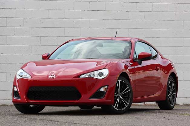 2013 Scion FR-S in red - front three-quarter view