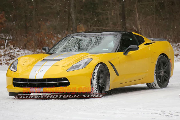 Corvette C7 prototype undergoing winter testing - yellow with stripes