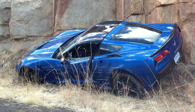First 2014 Chevy Corvette Stingray spotted crashed in the wild