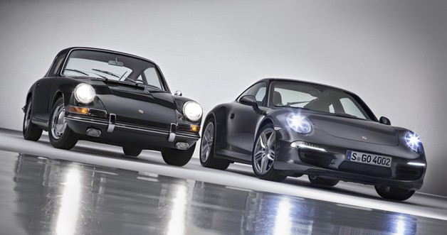 2013 Porsche 911 with its 50-year-old antecedent - studio image