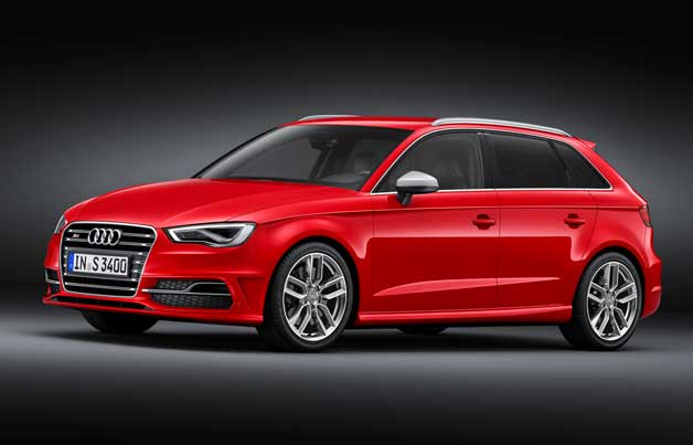 2013 Audi S3 Sportback - front three-quarter studio view, red