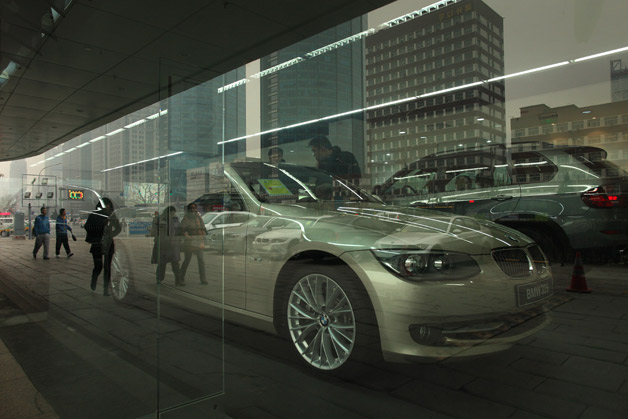 BMW dealer through the glass