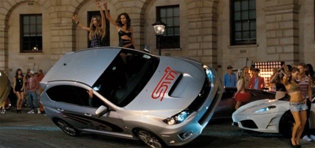 Subaru WRX STI doing a wheelie in Fast & Furious 6 - trailer screencap