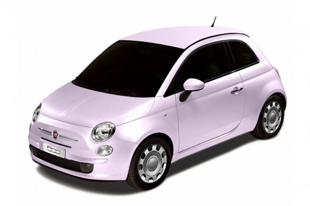 Fiat 500 Fiore Rosa - Japanese special edition model in pink - front three-quarter view