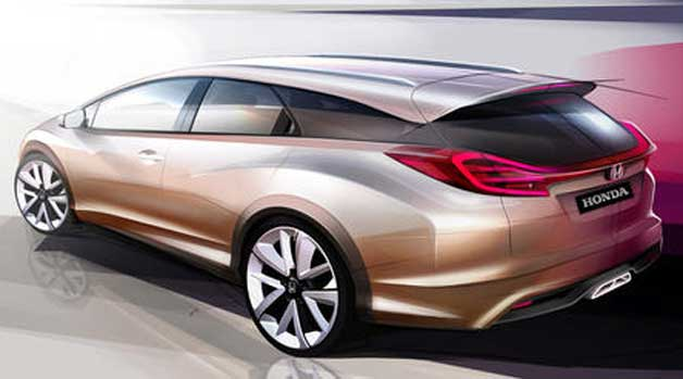 Honda Civic Wagon rendering - official rear-three quarter view of Geneva concept car