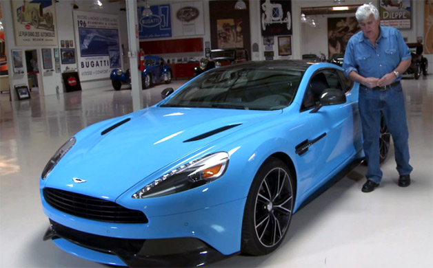 2014 Aston Martin Vanquish with funnyman Jay Leno in his garage - video screencap