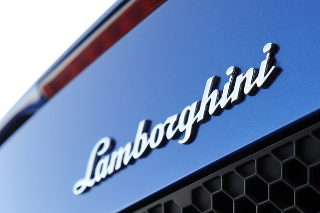 Lamborghini emblem on back lid of car