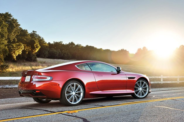 2013 Aston Martin DB9 rear 3/4 view