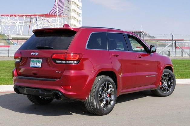 2014 Jeep Grand Cherokee SRT rear 3/4 view