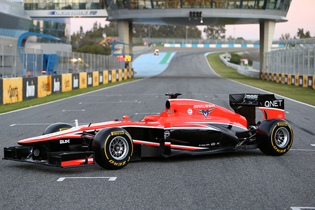 Marussia MR02 F1 car for 2013 - front three-quarter view