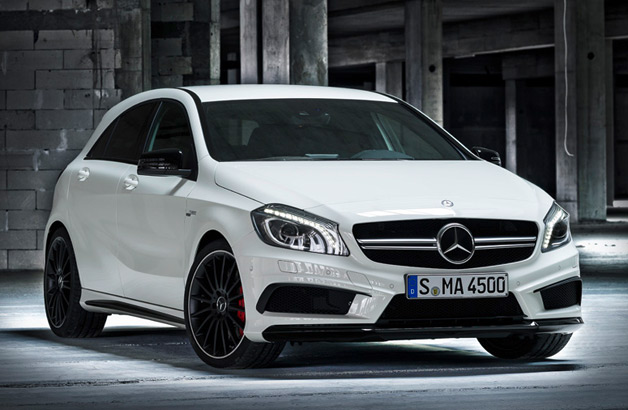 2014 Mercedes-Benz A45 AMG in white - front three-quarter view